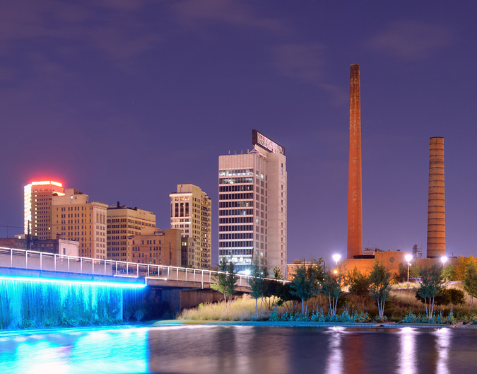 View from Railroad Park, a 19-acre park for entertainment and culture near downtown
