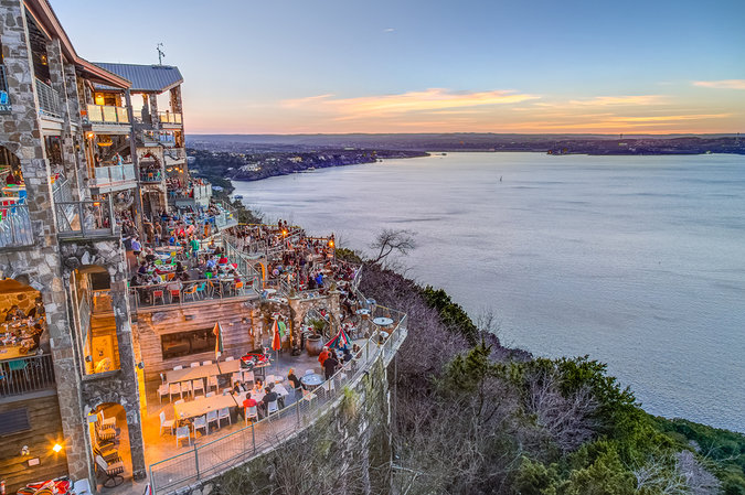 View of Lake Travis from the Oasis Restaurant in Austin