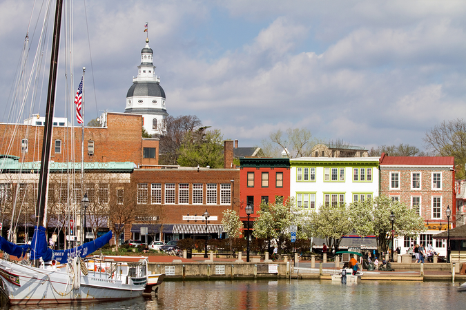Waterfront in downtown Annapolis – state capital of Maryland
