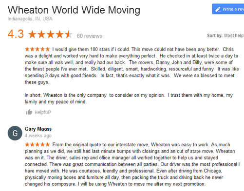 Wheaton World Wide Moving – Moving reviews