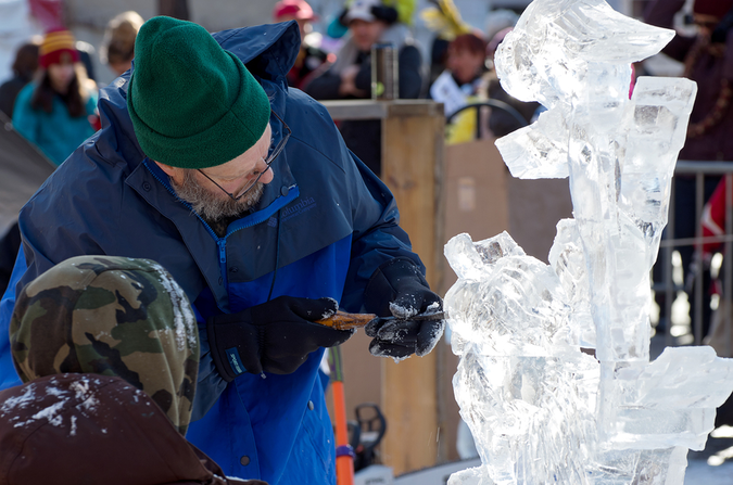 Winter Carnival – Ice sculpting is one of the many ways residents enjoy the winter cold