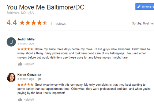You Move Me Baltimore – Moving reviews