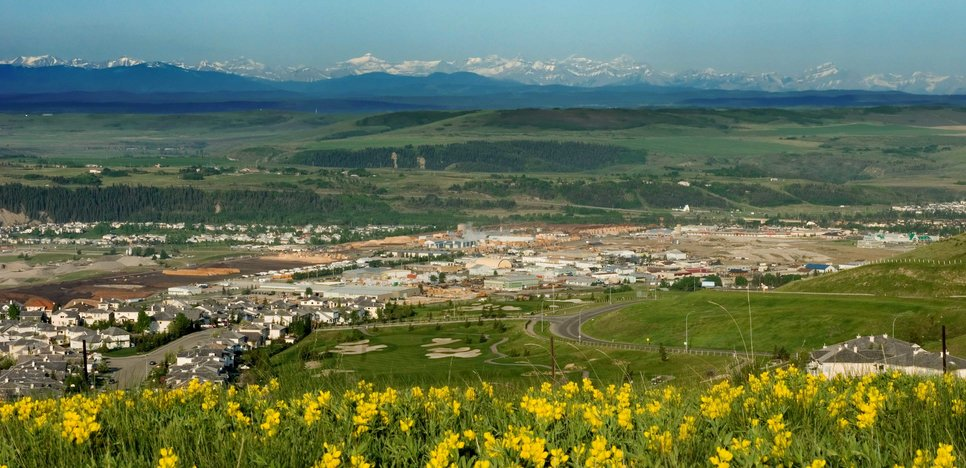 Aerial view of Cochrane, Alberta – Top retirement destination in Canada