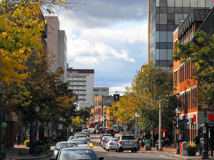 Busy downtown Moncton features a host of urban amenities and entertainment choices