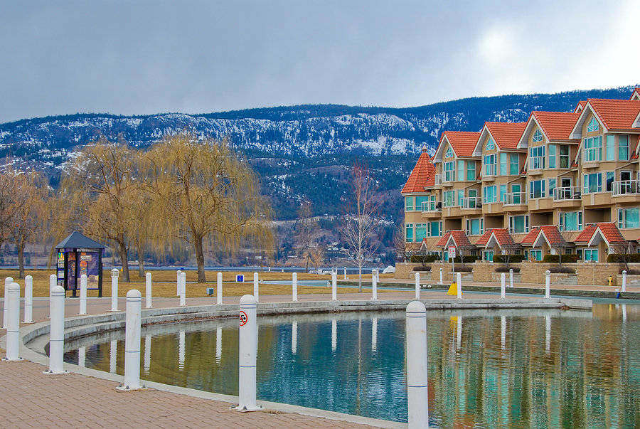 Row of condominiums along Okanagan Lake in Kelowna, Canada