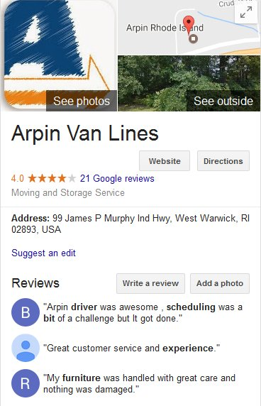 Arpin Van Lines – Location