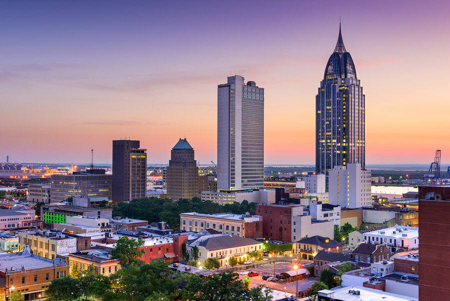 City Skyline of Mobile, Alabama – popular long distance moving destination