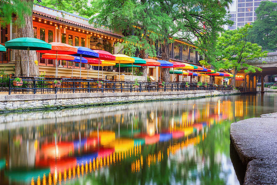 Colorful cityscape along San Antonio River in San Antonio, Texas
