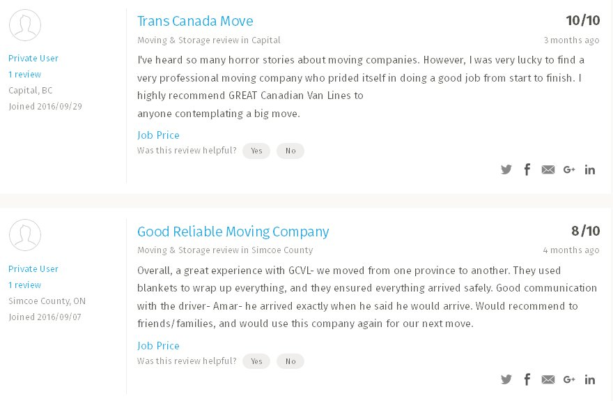 Great Canadian van Lines - Moving reviews