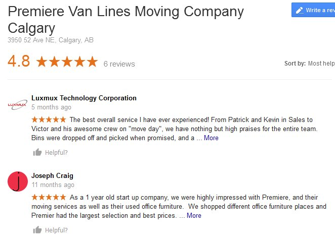Premiere Van Lines - Moving reviews