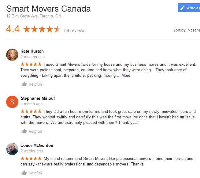 Smart Movers Canada - Moving reviews