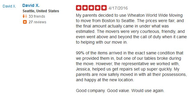 Wheaton World Wide Moving – Moving review