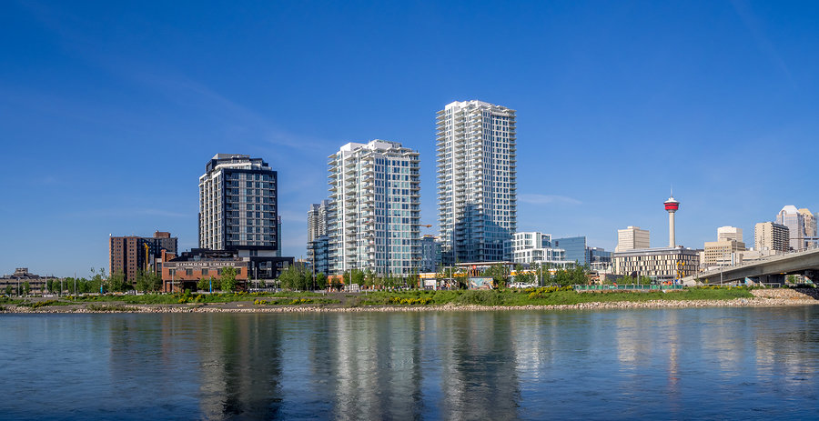 Calgary, Alberta Skyline – East Village's residential and commercial development