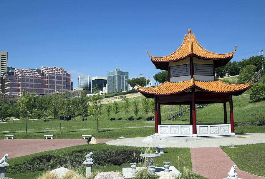 Chinese Park in downtown Edmonton on a beautiful sunny day