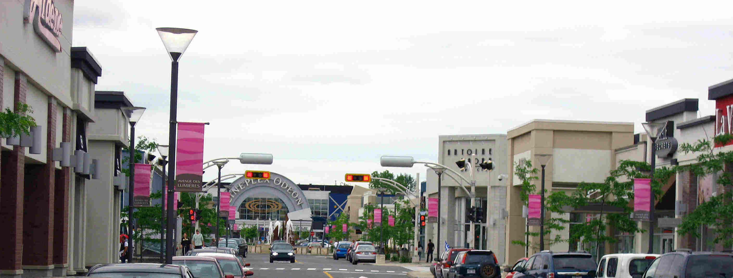 Commercial business district in Brossard