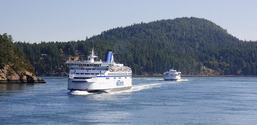Ferry crossing Victoria to Vancouver and the surrounding islands in British Columbia