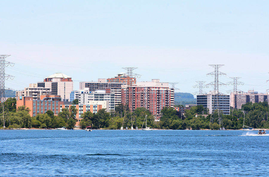 The City fronts Lake Ontario – downtown view of Burlington